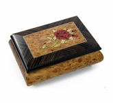 Radiant 30 Note Single Stem Red Rose Musical Jewelry Box