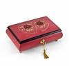 Radiant 36 Note Double Hearts with Red Rose Raspberry Musical Jewelry Box