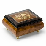 Radiant Floral Glossy Wood Inlay Box with Rosewood Border, Classy & Beautiful