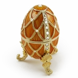 Radiant Orange Musical Faberge Egg with Gold Ornament Accents