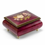 Radiant Red Wine Music Jewelry Box with a Floral Wood Inlay Design