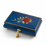 Radiant Royal Blue Italian Musical Jewelry Box with Red Rose Inlay