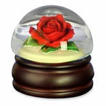 Realistic Red Rose Mushroom Water Globe by San Francisco Music Box Co.