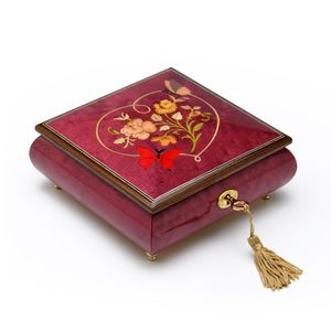 Red Wine Butterfly with Heart Outline Inlay 22 Note Musical Jewelry Box