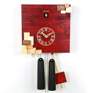 "VDS Certified Red with Natural Wood Accents 8 Day Modern Romba Art Cuckoo Clock by Rombach and Haas (Extra 20% Off Sale Price - Code ""romba20"")"