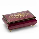 Remarkable 22 Note Red Wine Floral Theme Wood Inlay Musical Jewelry Box