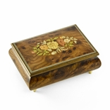 Remarkable 30 Note Solid Burl-Elm Floral Theme Wood Inlay Musical Jewelry Box