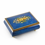 Remarkable Dark Blue Floral Theme Wood Inlay Musical Jewelry Box