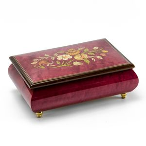 Remarkable Red Wine Floral Theme Wood Inlay Musical Jewelry Box