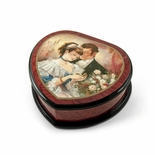 Romantic Heart Shape Painted Ercolano Music Box Titled - A Token of Love by Brenda Burke
