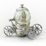 Romantic Pearl White, Ivory And Silver Fairy Tale Snow Globe Carriage