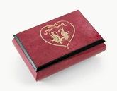 Romantic Red-Wine Swans in Heart Outline Sorrento Inlaid Music Box