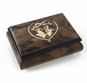 Romantic Walnut Tone Swans in Heart Outline Sorrento Music Box