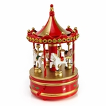 Rotating Red Musical Christmas Carousel with Horses and Jeweled Canopy