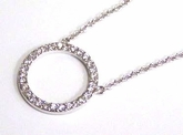 Round Silver Pendant With Cubic Zerconia Necklace