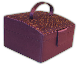 Rowalland Evelyn Sloping Top Violet Embroidered Jewelry Box