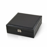 Sleek and Modern Table Top Black Croc Skin Faux Leather Jewelry Box