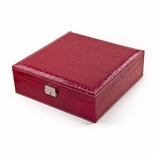 Sleek and Modern Table Top Red Croc Skin Faux Leather Jewelry Box