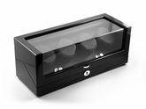 Sleek Hi Gloss Black Watch Winder (4) with Chrome Accents