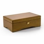 Sleek Minimal Design Swiss 72 Note Elm Wood Musical Jewelry Box