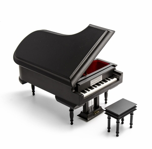 Sophisticated 18 Note Miniature Musical Matte Black Grand Piano with Bench