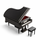 Sophisticated 22 Note Miniature Musical Matte Black Grand Piano with Bench