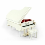 Sophisticated 30 Note Miniature Musical Hi-Gloss White Grand Piano with Bench