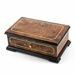 Sophisticated 50 Note Sankyo Classic Style with Framed Panel Inlay Grand Music Box