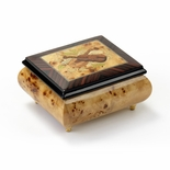 Sophisticated Birds Eye Maple Music Box with Violin Wood Inlay
