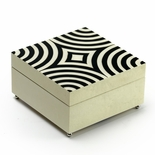 Sophisticated 36 Note Ivory with Black Lacquer accents Modern Sorrento Music Jewelry Box