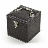 Space Efficient Brown Croc Skin Faux Leather Gothic Jewelry Box