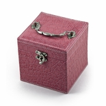 Space Efficient Pink Croc Skin Faux Leather Gothic Jewelry Box
