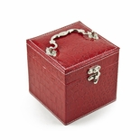 Space Efficient Red Croc Skin Faux Leather Gothic Jewelry Box