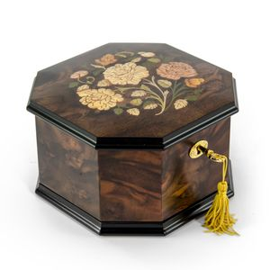 Spacious 22 Note Handcrafted Roses Inlay Octagonal Musical Jewelry Box