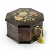 Spacious 36 Note Handcrafted Roses Inlay Octagonal Musical Jewelry Box