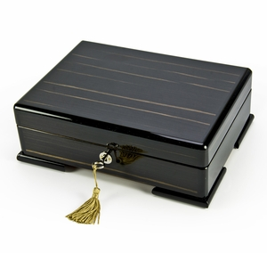 Spacious Ebony Natural Wood Tone 18 Note Hi Gloss Finish Musical Jewelry Box