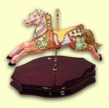 "Spectacular ""18th Century"" Replica English  Carousel Horse on a Musical Solid Wooden Stand"