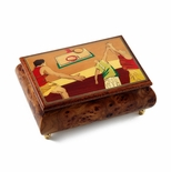 Sports Theme Wood Inlay: Basketball  - Collectible 30 Note Musical Jewelry Box