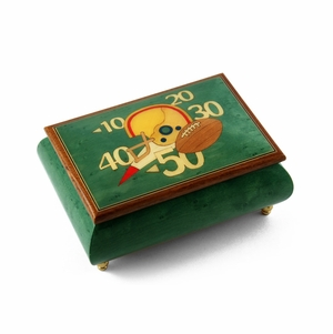 Sports Theme Wood Inlay: Football  - Collectible 18 Note Musical Jewelry Box