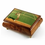 Sports Theme Wood Inlay: Tennis - Collectible 30 Note Musical Jewelry Box