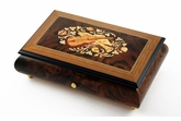 Stunning 50 Note Music Box with Musical Instruments & Floral Backdrop Inlay
