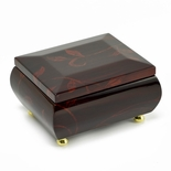 Stunning Burgundy Beveled Top Music Jewelry Box with Artistic Floral Motif