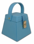Stylish Baby Blue Jewelry Box with Collapsible Front from Rowallan