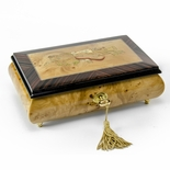 Timeless Italian Handcrafted Musical Theme Wood Inlay Musical Jewelry Box