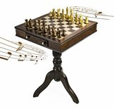 Timeless Handcrafted Walnut Finish Italian Musical Pedestal Chessboard