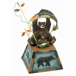 Tin Big And Little Bears Fishing Figurine