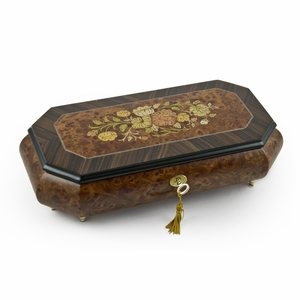 Traditional 22 Note Floral Motif Wood Inlay Cut Corner Music Jewelry Box