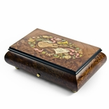 Traditional 50 Note Sankyo Musical Instrument Theme Inlay Grand Music Box