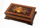 Traditional 72 Note Swiss Music Box with Music Instruments and Flower Inlay