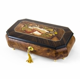 Traditional Handmade Cut-Corner Music Box with Musical Theme Inlay